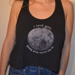 """""""I love you to the moon and back"""" black tank top"""